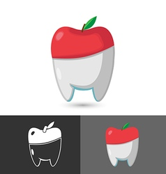 Dentist Dental Apple Symbol Icon Logo vector image