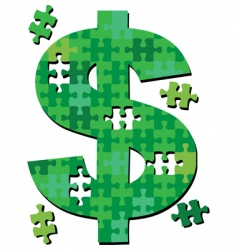 dollar jigsaw puzzle pieces vector image