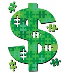 dollar jigsaw puzzle pieces vector image vector image