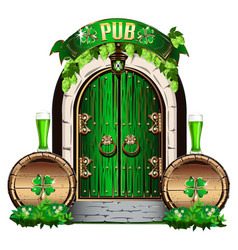 Door to the irish pub vector