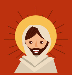 Face jesus christ religious catholic vector