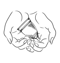 female hands hold menstrual cup caring vector image