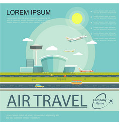 flat air travel poster vector image