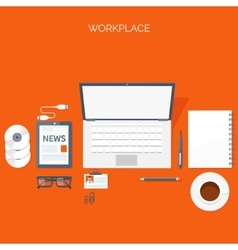 Flat header workplace vector
