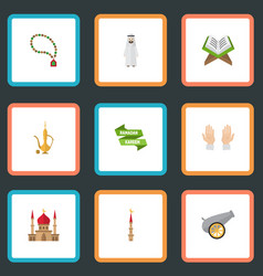 flat icons palm arabian mosque and other vector image