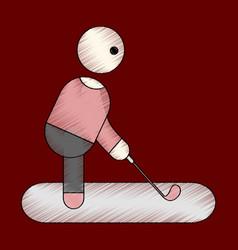 Flat shading style icon stick figure golf vector