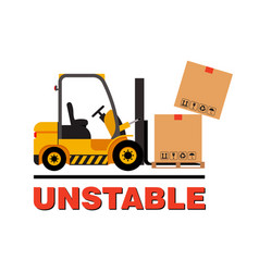 Forklift truck moving dropping cardboard vector