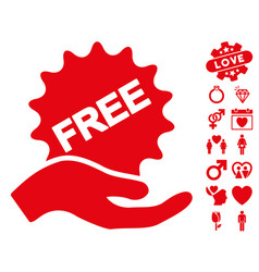 Free present icon with valentine bonus vector