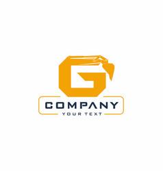 g letter excavator logo design vector image