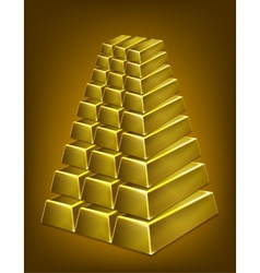 Gold bars pyramid isolated vector