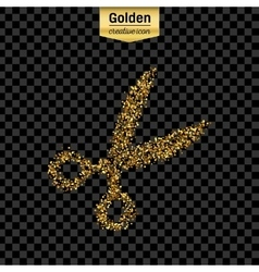Gold glitter icon of scissor isolated on vector