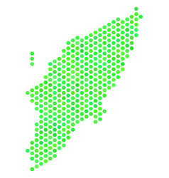 Green hex-tile greek rhodes island map vector