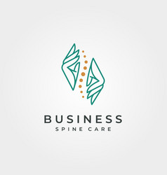 Hand and spine logo abstract symbol design spine vector