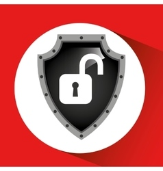 hand holding padlock security shield data vector image