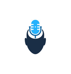 Head podcast logo icon design vector