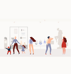 history or archeology museum visitors flat vector image