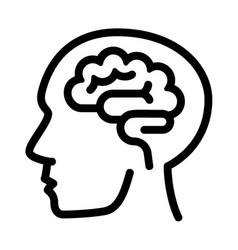human think brain icon outline style vector image