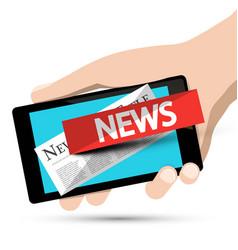 Internet news design phone app with human hand vector