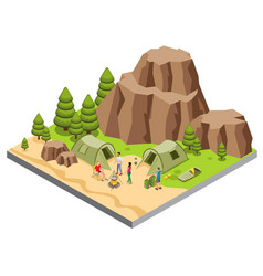 Isometric mountain camping template vector