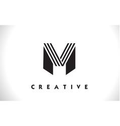M logo letter with black lines design line letter vector