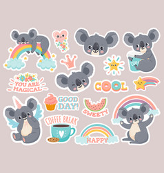 Magic koala stickers lazy australian koalas vector