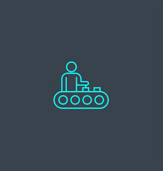 Manufacturing concept blue line icon simple thin vector