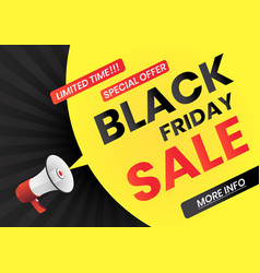 megaphone with black friday sale message on vector image