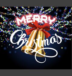 merry christmas golden bell vector image