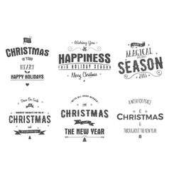 Merry Christmas lettering collection Wishes vector image