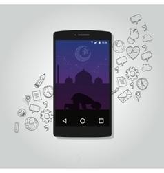 Mobile smart phone apps islam technology muslim vector