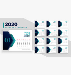 Modern 2020 geometric new year calendar layout vector
