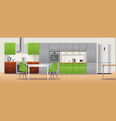 Modern kitchen interior design poster vector