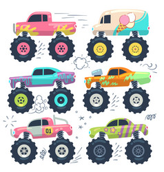 Monster trucks kids car toys cartoon set vector