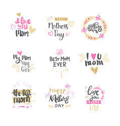 Mothers day hand drawn lettering isolated holiday vector