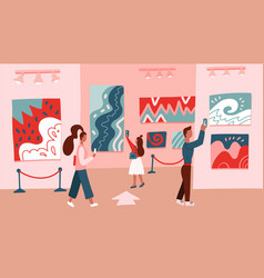 Museum visitors looking at modert abstract art vector
