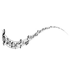 musical notes on a line with a treble clef vector image