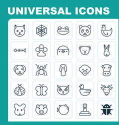nature icons set collection of rat kine moose vector image