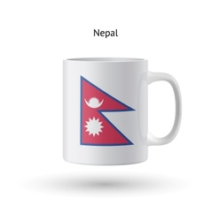 Nepal flag souvenir mug on white background vector