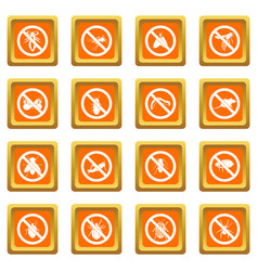 No insect sign icons set orange vector