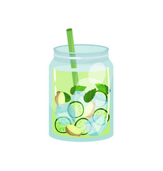Organic detox drink with ginger cucumber and mint vector
