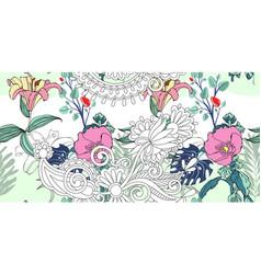 original trendy seamless artistic flower pattern vector image