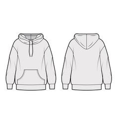 oversized cotton-fleece hoodie technical fashion vector image
