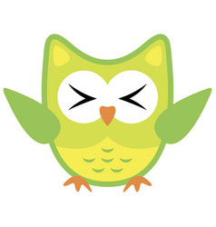 owl funny stylized icon symbol yellow green colors vector image