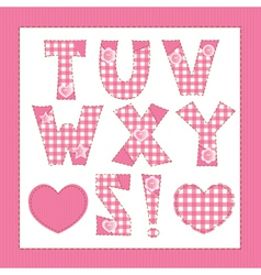 Pink fabric letters T U V W X Y Z vector image