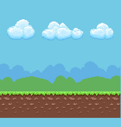Pixel 8bit game background with ground and vector