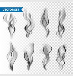 realistic cigarette smoke set isolated on vector image