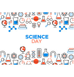 Science day outline icon card vector