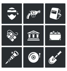 set bank robbery icons thief weapon vector image