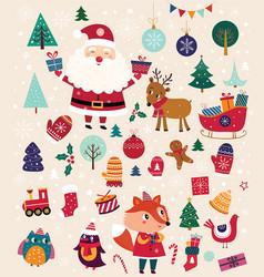 set christmas elements vector image