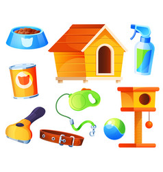 Set for pet shop supermarket items icons vector
